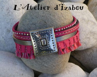Tassel MULTISTRAND leather pink and silver rhinestones and Ribbon Cuff Bracelet