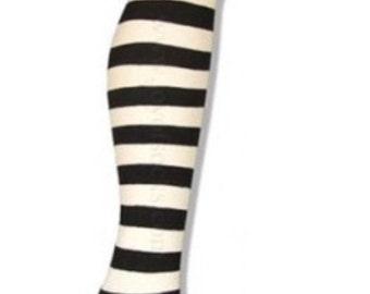 Black white stripe over knee cotton socks