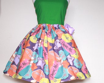 Alice in Wonderland, Eat Me, Drink Me, Try Me Skirt for Gals, All Sizes, Plus Size,