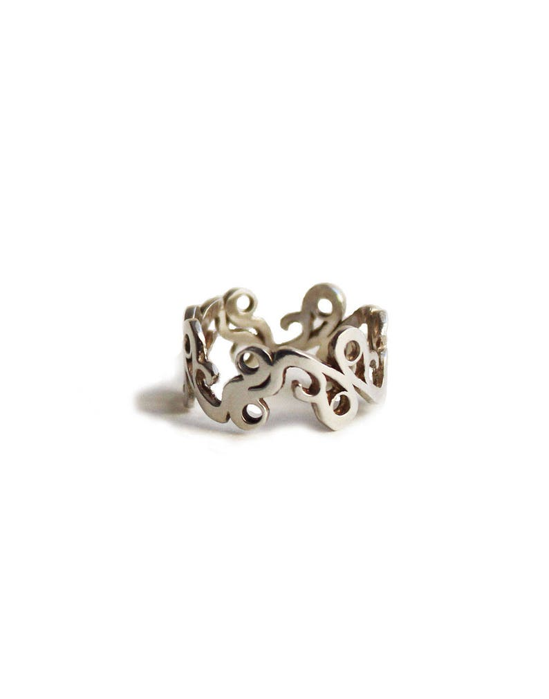 Gold Plated Filigree Band Lace Ring Feminine Everyday Ring For Women Special Anniversary Gift For Her.