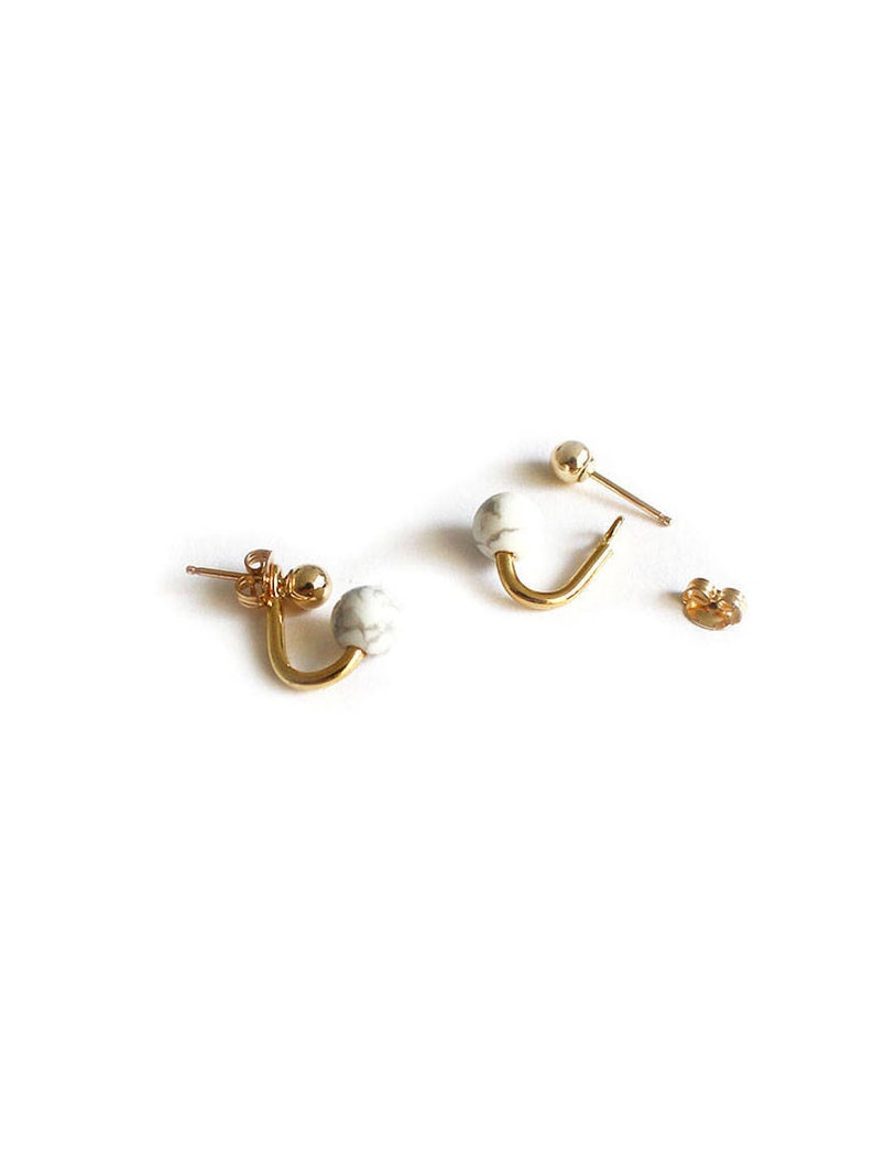 New Mom Jewelry Small Earrings For a Mom White Stone Ear Jacket Gold Plated Silver Studs Baby Shower Gift.