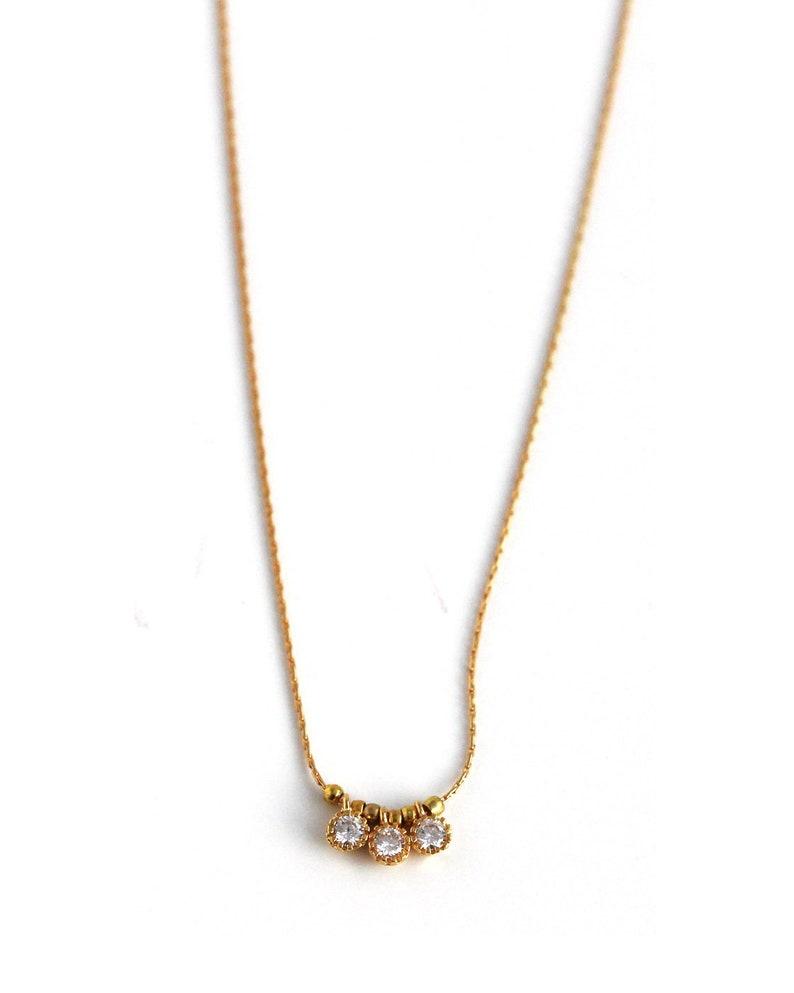 Zircon Stones Pendant Minimalist Gemstone Necklace Bridesmaid Gift. Bridal Party Jewelry