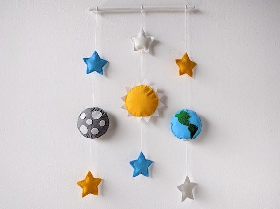 Tenture murale feutre soleil terre lune toiles mobile pour b b de mur d coration de chambre - Tenture chambre bebe ...