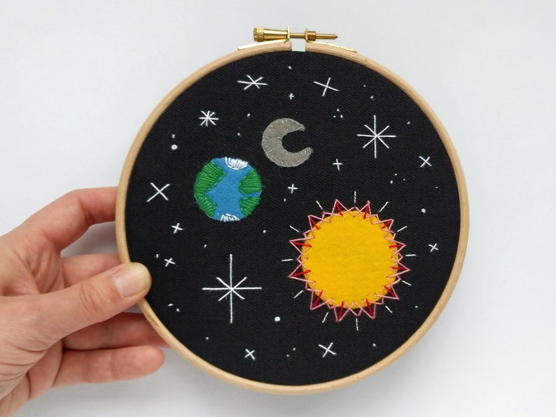 Earth Space #9 embroidery hoop art with the Sun moon and stars