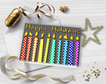 Glitter greeting card, HAPPY HOLIDAYS card, Printable Christmas Card, Colorful rainbow candles, DIY card, Instant download, GC027