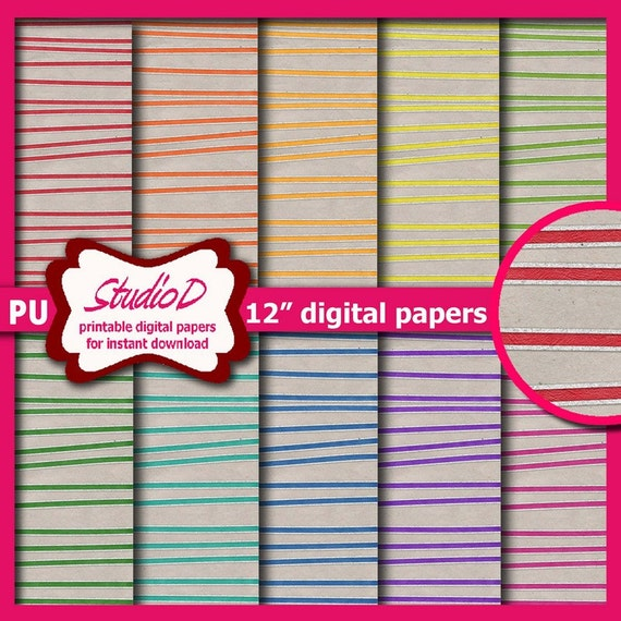 Glitter Stripes Digital Paper 12x12 Premade Scrapbook Pages Etsy
