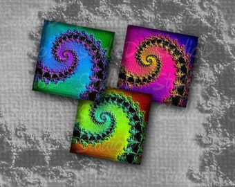 Digital Collage Sheet, 1.5 inch square Fractal art, Fridge Magnets, Keychain, resin Pendants, jewelry making, Psychedelic art