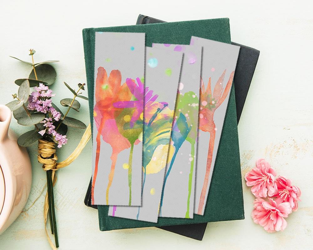Print At Home Bookmarks Watercolor Flowers Printable Diy Etsy