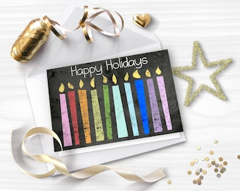 Printable Christmas Card, HAPPY HOLIDAYS card, Chalkboard greeting card, Colorful rainbow candles, DIY card, Instant download, GC025