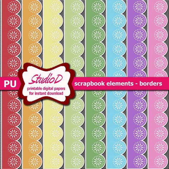 Pastel Borders Rainbow Sticker Borders Digital Scrapbook Etsy