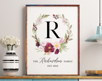 Family Established Sign, Custom Last Name Sign, Personalized Family Name Wall Art, Living Room Decor, Moving Gift, Family Monogram