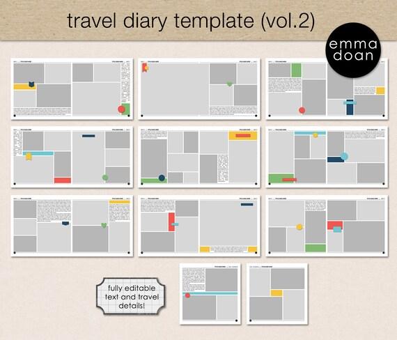 Travel Diary Album Template V2 12x12 Photobook