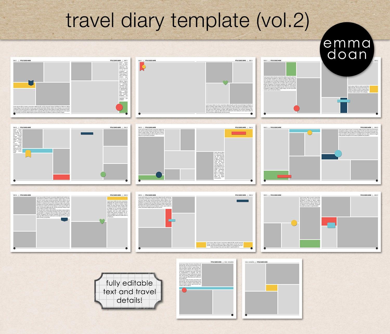 Travel Diary Album Template V2, 12x12\