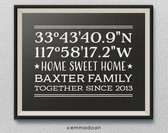 Personalized Longitude Latitude Print, Home Address Print, Coordinates Printable, Housewarming Gift, New House Gift,House Moving Gift