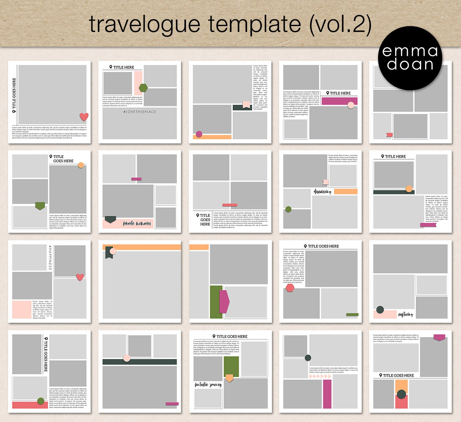 Travelogue Photo Album Template Vol.2 12x12 Travel | Etsy