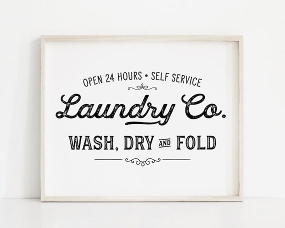 Laundry Co Wash Dry Fold Wall Print in A5 or A4 Size Laundry Print for Home