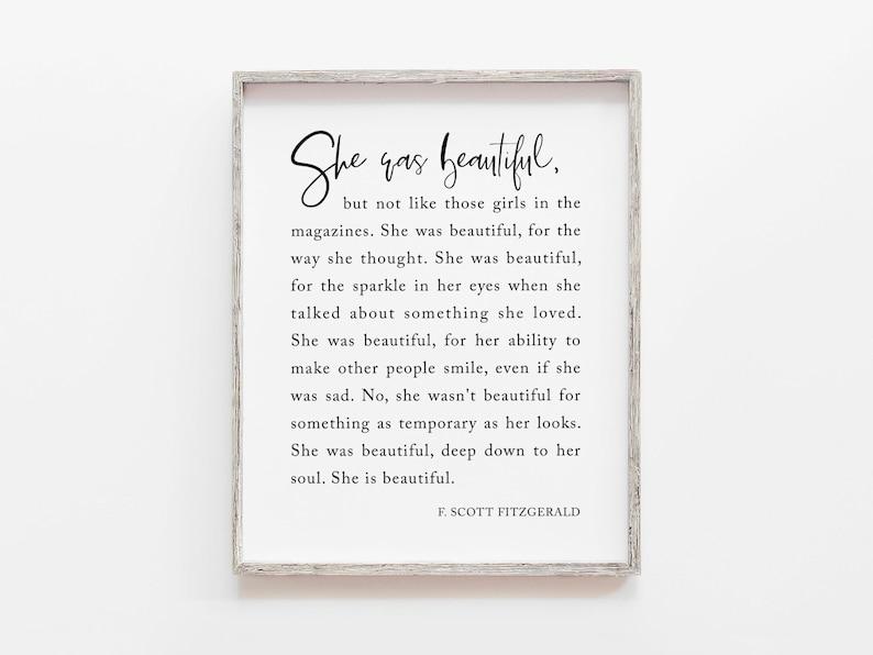 She Was Beautiful F Scott Fitzgerald Inspirational Wall Art image 0
