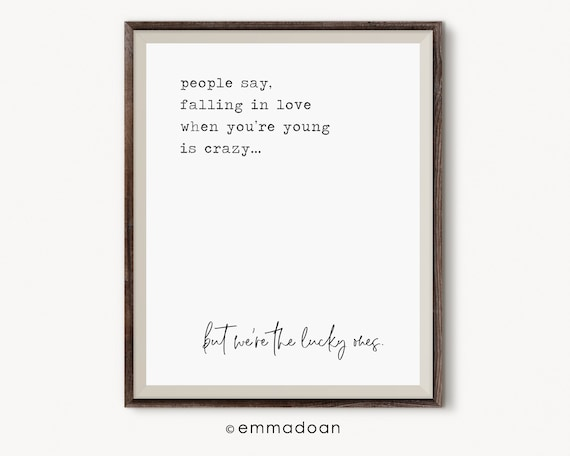 Young Love Quotes | Falling In Love Printable Young Love Quote Print Bedroom Etsy