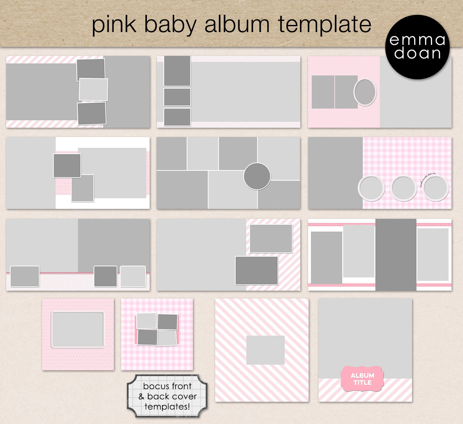 Pink Baby Album Template 12x12 Baby Girl Album | Etsy