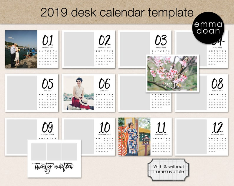 picture about Printable Pocket Calendar titled 2019 Pocket Calendar Template, 5x7 Photograph Calendar Printable, Customized calendar template, Printable table calendar, Calendar producing package