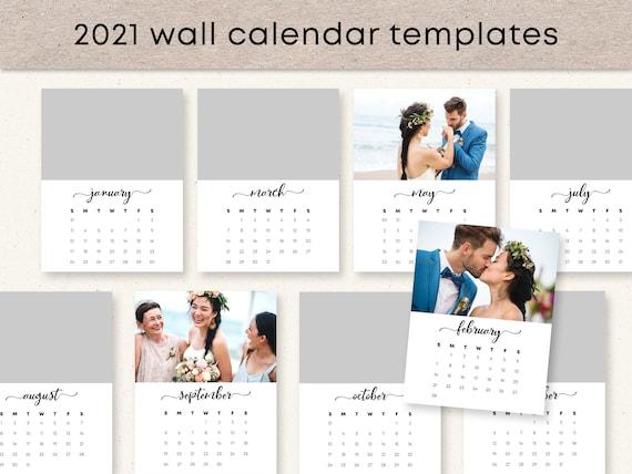 Wall Calendar 2021 Template Photo Calendar Personalized Etsy