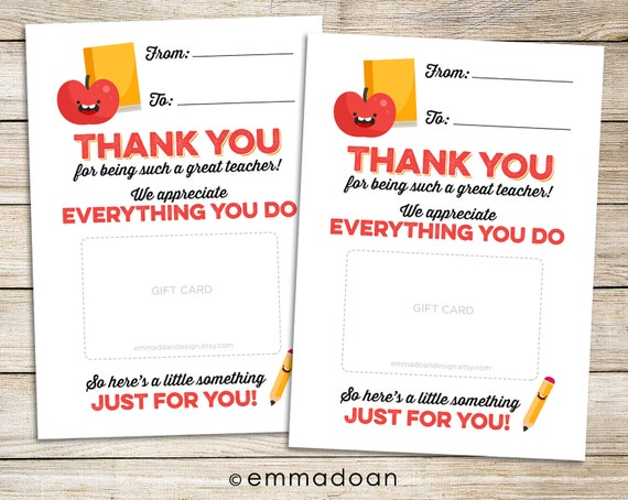 image about Printable Teacher Thank You Cards called Instructor Appreciation Printable, Instructor Thank On your own Card Instantaneous Obtain, Reusable Instructor Present Card Holder, Stop Of College Calendar year Trainer Reward