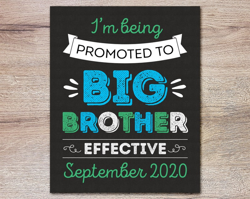 Being Promoted To Big Brother Sign for Dog or Kid to Announce New Baby Pregnancy Prop