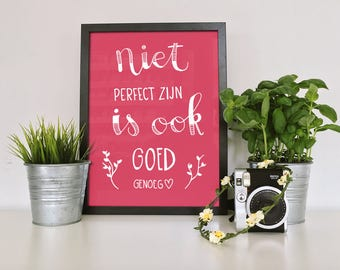 Printable Wall Art / Handlettering poster with dutch quote
