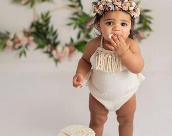 3791e0702c57 Girls Rompers Boho Romper Bohemian Clothing Baby Romper Girl Romper Bubble  Boho Baby Cake Smash Romper Easter Fringe Rompers Mermaid Spring
