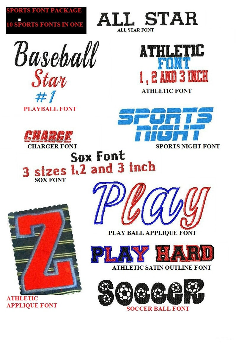 10 Sports team Machine Embroidery design Fonts (10 SETS) Applique fonts  included 4x4 7 formats