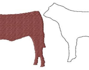 Show Heifer steer Filled and redwork Machine Embroidery design