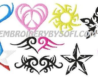 20 coeur et étoile tatouage motif de broderie Machine