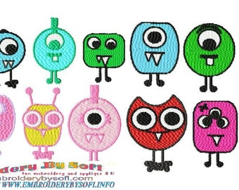 10 Cute Monster machine embroidery designs