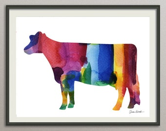 cow art print watercolor wall art decor poster painting,  nursery wall art, living room wall art
