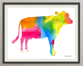 cow wall art print wall decor poster watercolor painting drawing, animals wall art print poster, nursery wall art art print poster
