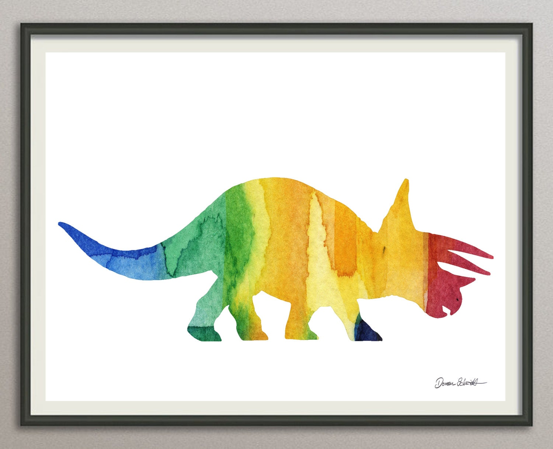 Dinosaur Triceraptos art print wall art decor poster nursery | Etsy