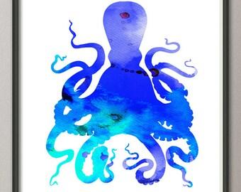 Octopus print, blue octopus watercolor print, octopus poster silhouette, octopus painting, blue octopus wall art decor, sea creature