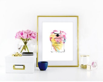 Coco Chanel Print, Watercolor print, Fashion  print  • Instant download print • 8x10 / 5x7