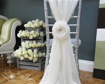 "Wedding 7"" Fabric Flower  - Cloud Rose - Wedding Chair Decor Sash Bridal Flowers Sweetheart table - Made to Order"