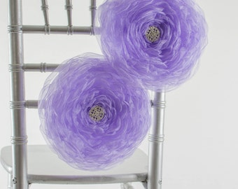 Large Organza Fabric Flower -  Bridal Flower Sash ~ Lilac -  Wedding Chair Decor, Sweetheart table , Party Decoration