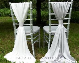 Wedding Silky Satin Chair Sash ~ Silver / Ivory - Wedding Decor - Chair Cover Sash
