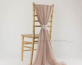 Chiffon chair cover sash ~ Nude Mocha - Wedding chair decor - Bridal chair Sweetheart table - Dinner parties
