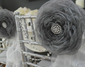 Large Organza Fabric Flower ~ Silver Grey - Wedding Chair Decor , Sweetheart table , Party decoration