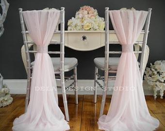 Wedding Chiffon Chair Sash | Pale Pink / White | Wedding Event Decor