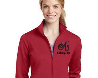 Personalized Letter Stethocsope with Name Full-Zip LADIES Jacket * Initial Nurse Nursing Medical Womens * 6 Colors