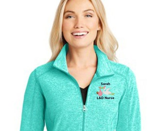 Personalized L & D Stork with Baby LADIES Heather Fleece Jacket with Name * Labor and Delivery Nurse RN * Custom Embroidered Womens * Gift