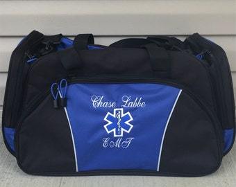 a423f4f9afb Duffel Bag   Personalized EMT Paramedic Duffle Bags   Nurse Star of Life  Tote Bag   Custom EMS Medic Bag with Name   Monogrammed Gift