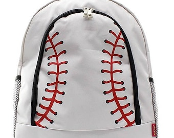 Personalized Baseball Stitches Backpack * Monogrammed Book Bag * Bookbag with Monogram Name Custom Embroidered