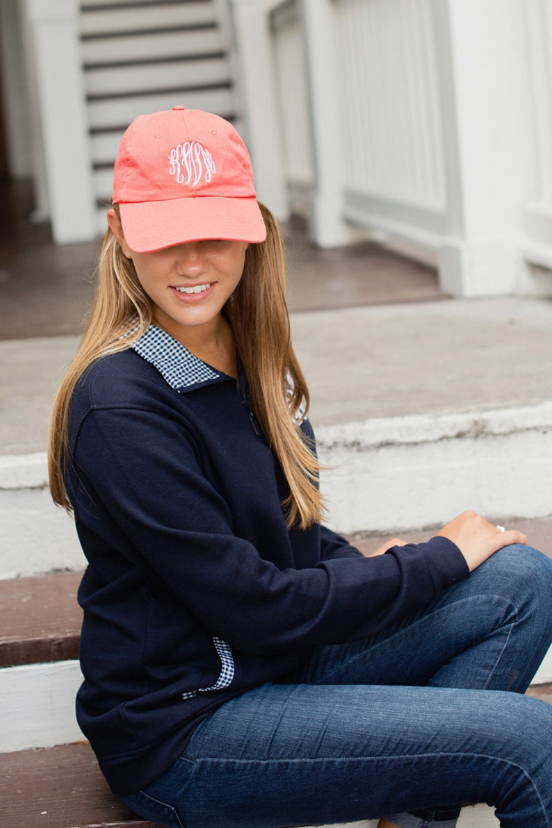 8c1ba1e93bd78 Personalized Adult Womens Coral Ball Cap * Custom Embroidered Baseball Hat  * Monogrammed Ladies Gift