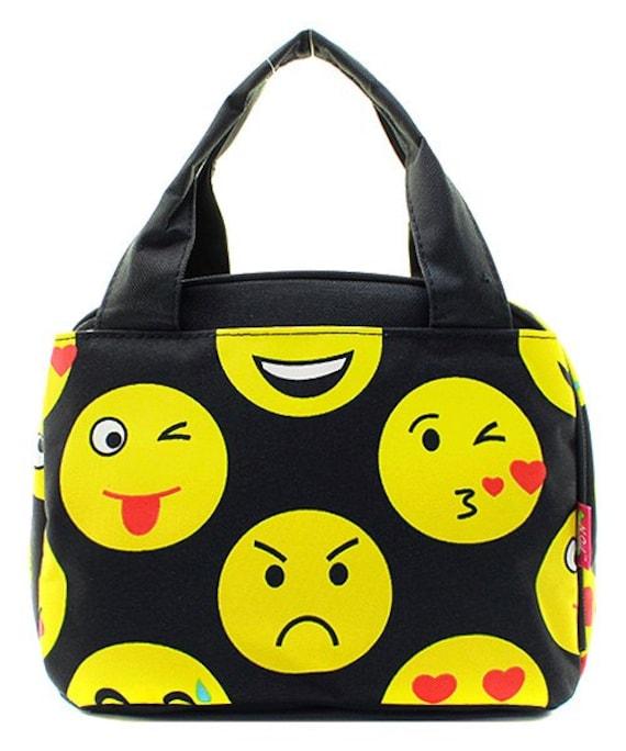 Personnalisé Emoji Faces impression déjeuner Tote * brodés sac à Lunch avec le monogramme ou nom * monogramme déjeuner isolé bacs